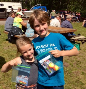 Isla and Ashton with prizes 2016 fish derby